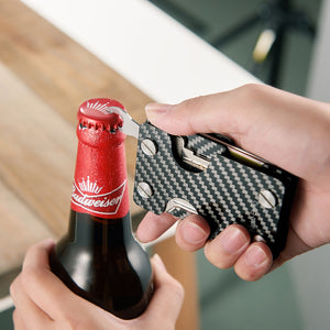 NewBring Carbon Fiber Credit Card Holder and Key Organizer With RFID Blocking Wallet