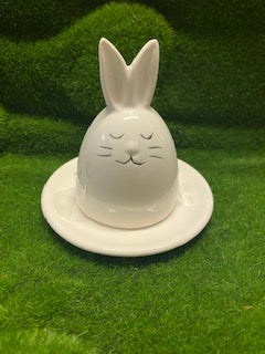 Bunny Lid Egg Cup holding milk chocolate Easter egg