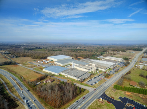 Aerial view of Orian manufacturing plant in Anderson, South Carolina
