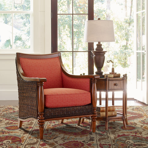 traditional rug under tommy bahama chair