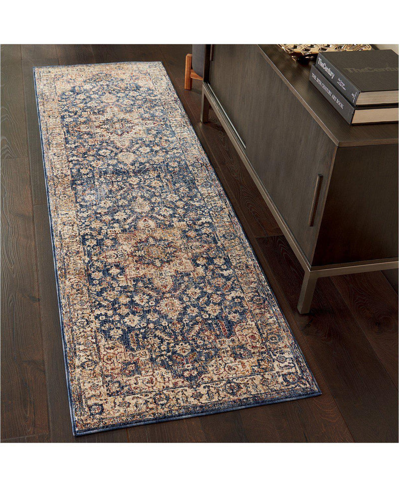 Taza TAZ02 Heriz Dark Blue-Area Rugs-Kenneth Mink Home-3' x 5'-The Rug Truck