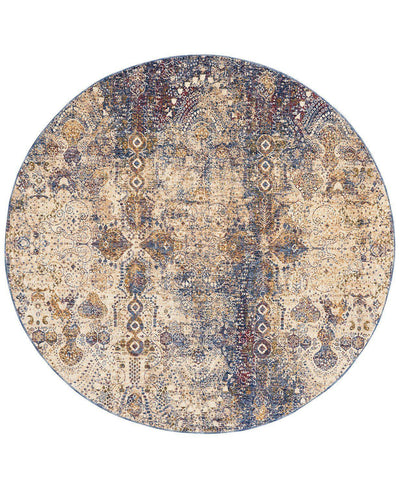 Taza TAZ01 Lavar Dark Blue-Area Rugs-Kenneth Mink Home-5' Round-The Rug Truck