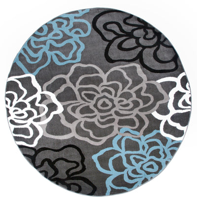 "Alpine 108 Gray Area Rug-Area Rug-World Rug Gallery-6'6"" Round-The Rug Truck"