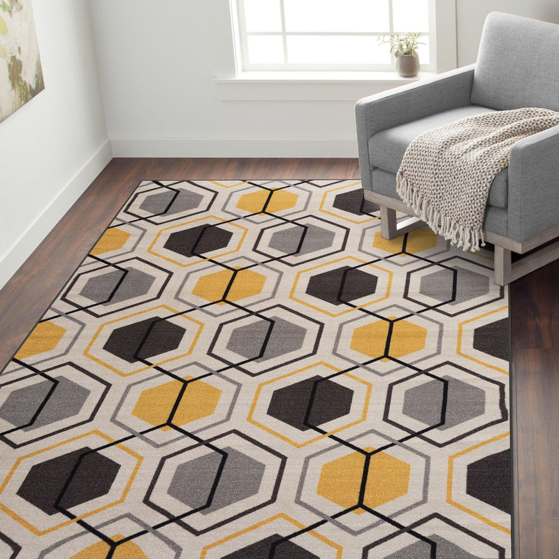 "Avora 511 Yellow Area Rug-Area Rug-World Rug Gallery-1'8"" x 2'6""-The Rug Truck"