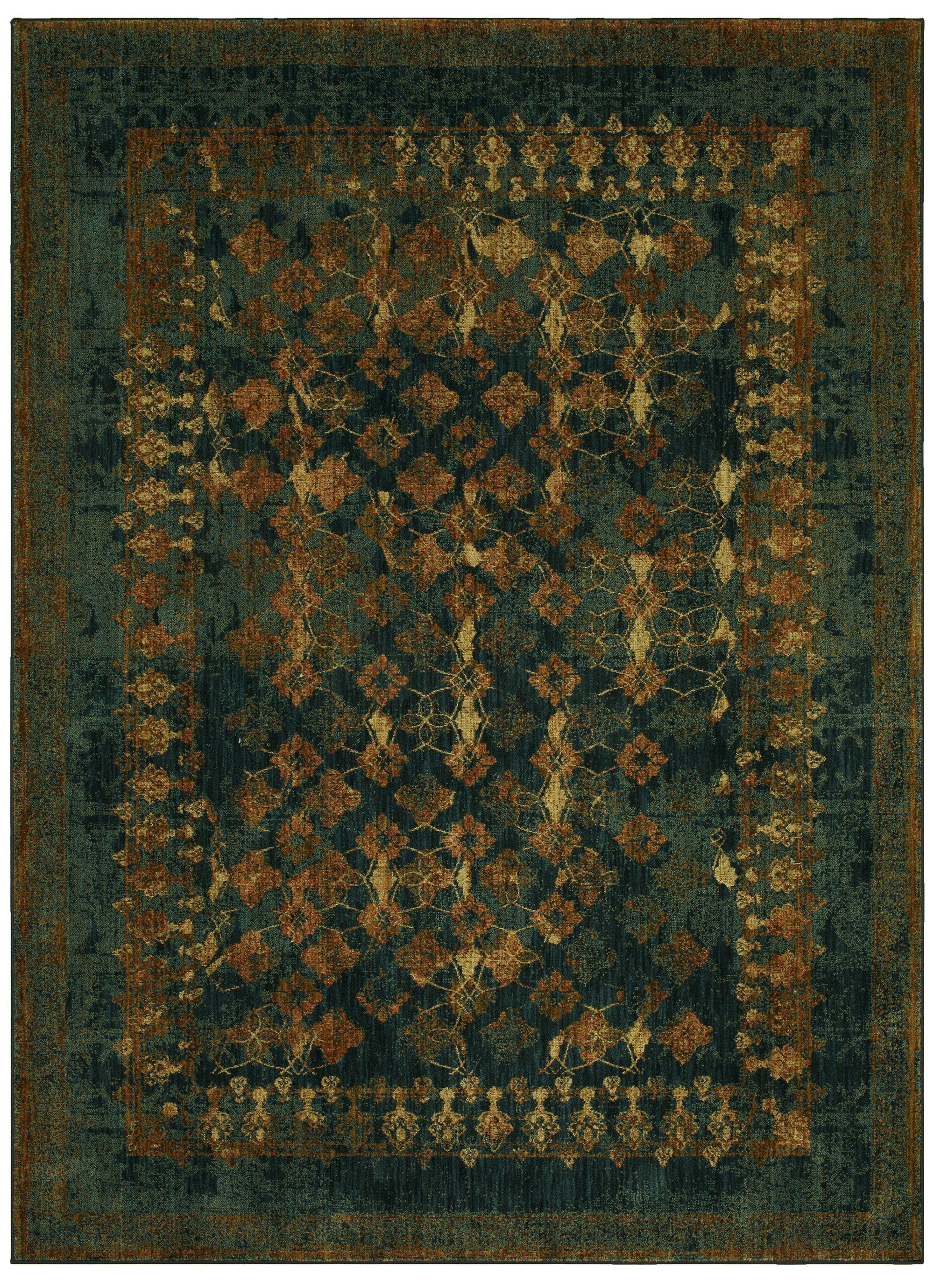 "Karastan Spice Market Faded Arabesque Sapphire by Patina Vie-Area Rug-Karastan-3' 5""x5' 5""-The Rug Truck"