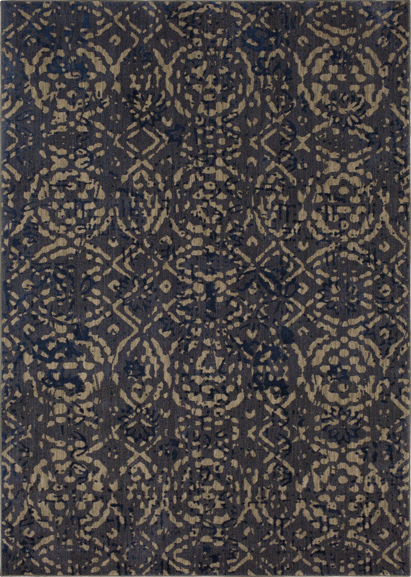 Karastan Cosmopolitan Block Print Ink Blue by Patina Vie-Area Rug-Karastan-2'x3'-The Rug Truck