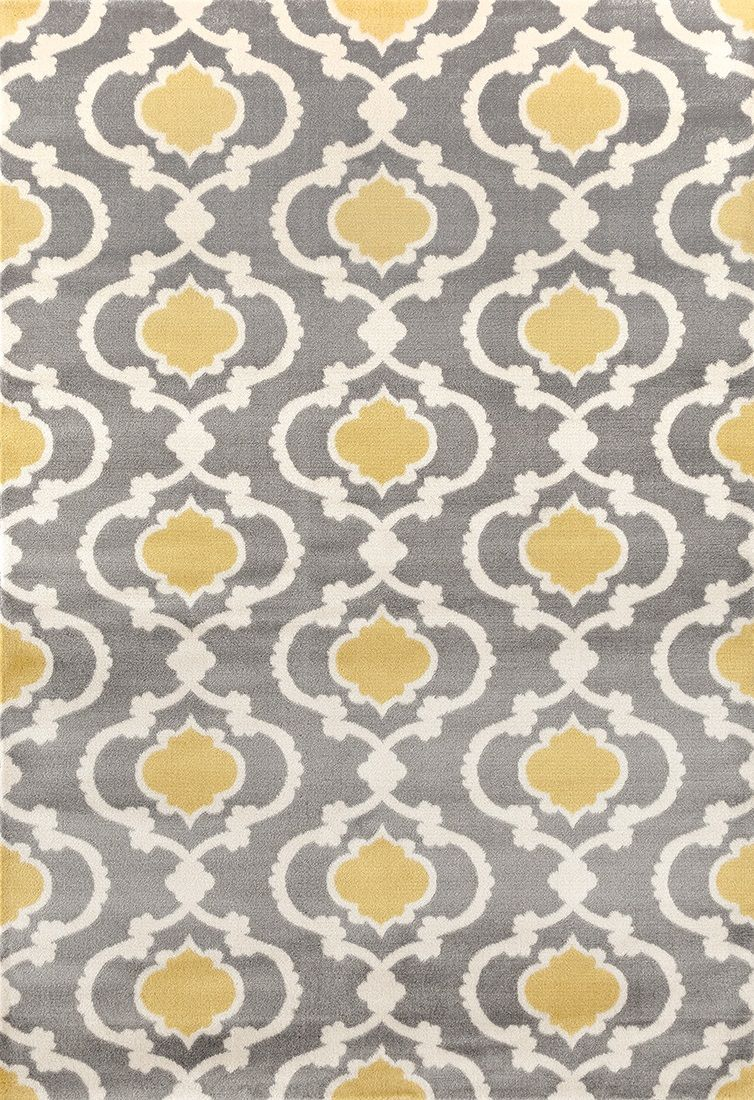 "Toscana 310 Gray/Yellow Area Rug-Area Rug-World Rug Gallery-3'3"" x 5'-The Rug Truck"