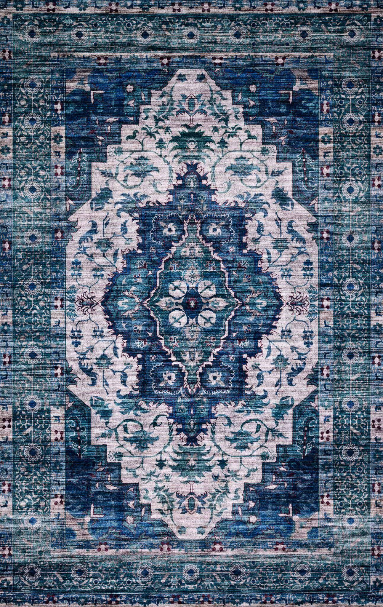 "Justina Blakeney Collection Cielo CIE-01 Ivory / Turquoise-Area Rug-Loloi-2'-3"" x 4'-0""-The Rug Truck"