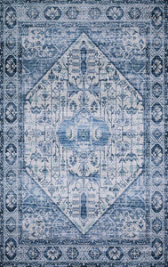"Justina Blakeney Collection Cielo CIE-02 Ivory / Denim-Area Rug-Loloi-2'-3"" x 4'-0""-The Rug Truck"