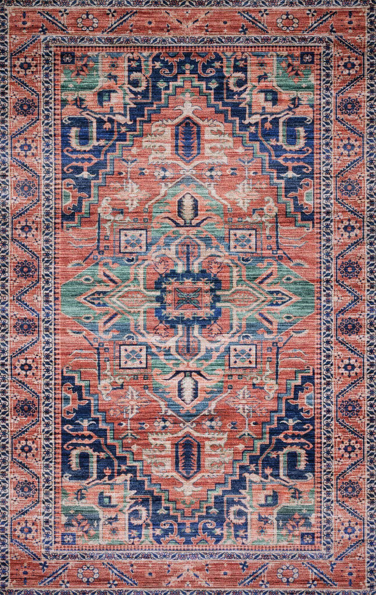"Justina Blakeney Collection Cielo CIE-06 Coral / Multi-Area Rug-Loloi-2'-3"" x 4'-0""-The Rug Truck"
