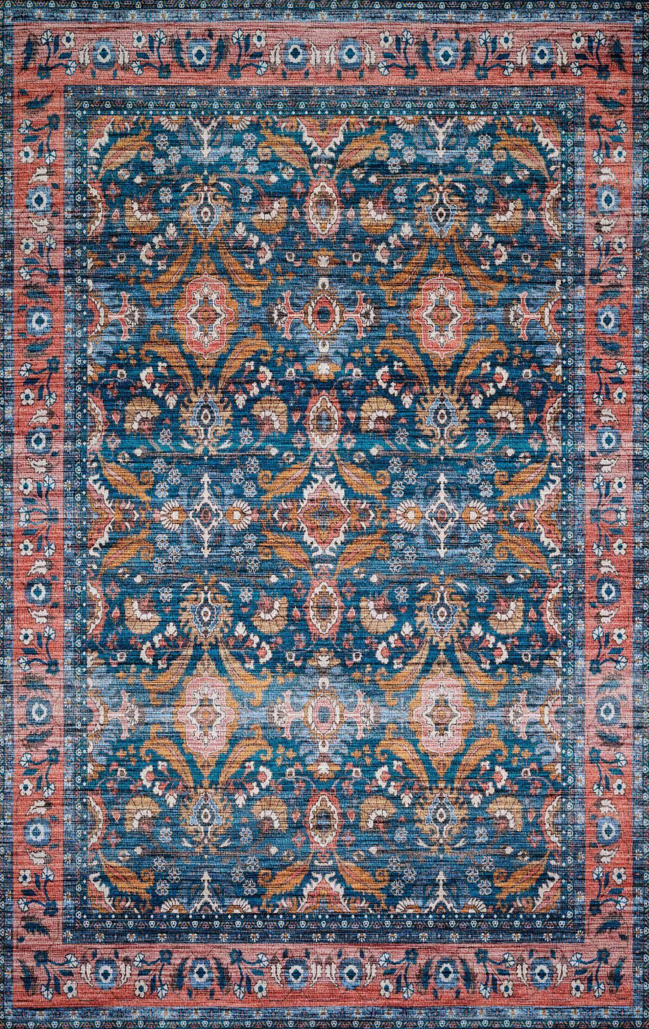 "Justina Blakeney Collection Cielo CIE-07 Ocean / Coral-Area Rug-Loloi-2'-3"" x 4'-0""-The Rug Truck"