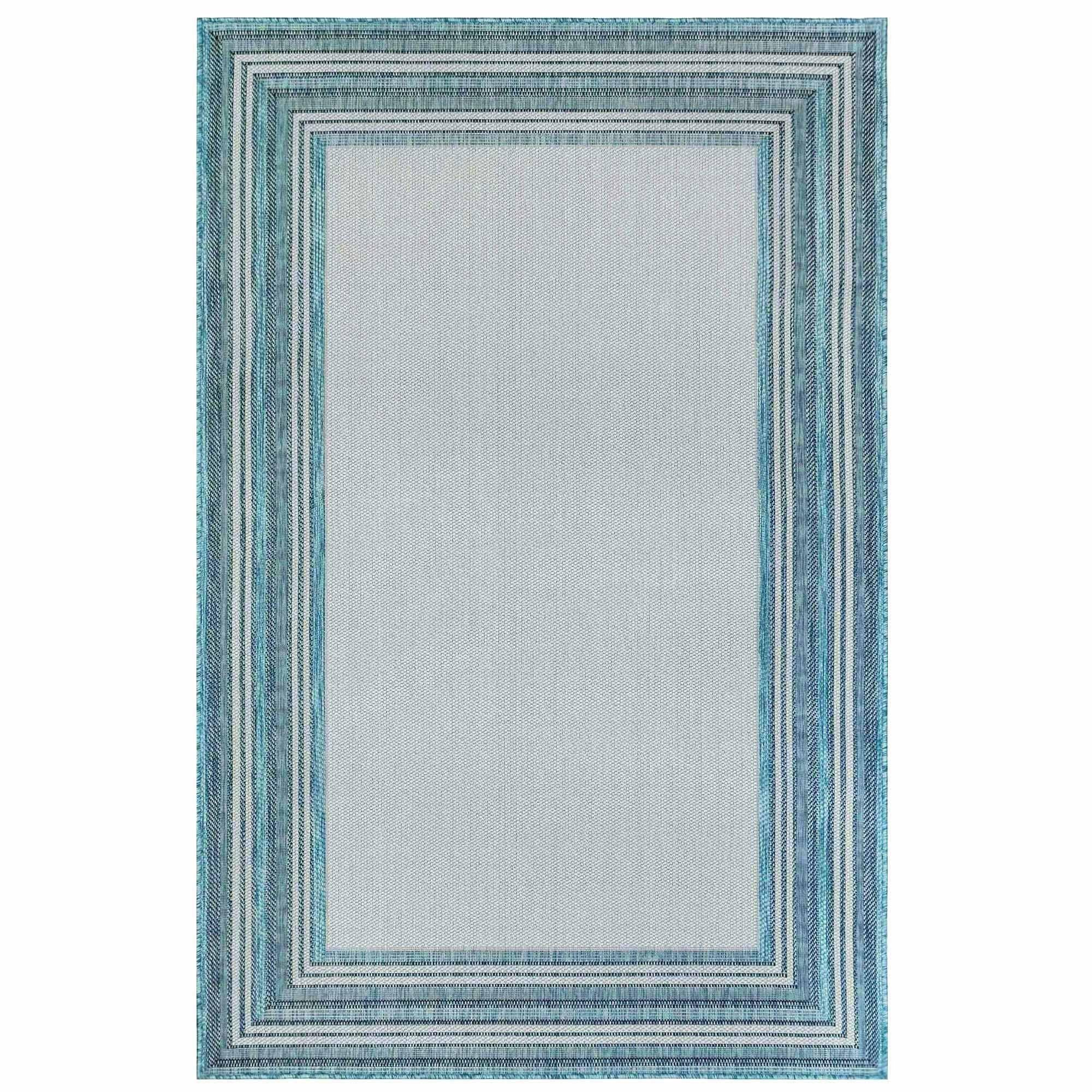"Liora Manne Carmel Multi Border Blue Everywear Rug-Area Rug-Trans-Ocean-39""X59""-The Rug Truck"