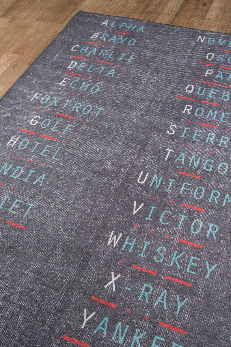 "Novogratz by Momeni District DIS-2 Military Charcoal Area Rug-Area Rug-Momeni-3'3"" X 5'-The Rug Truck"