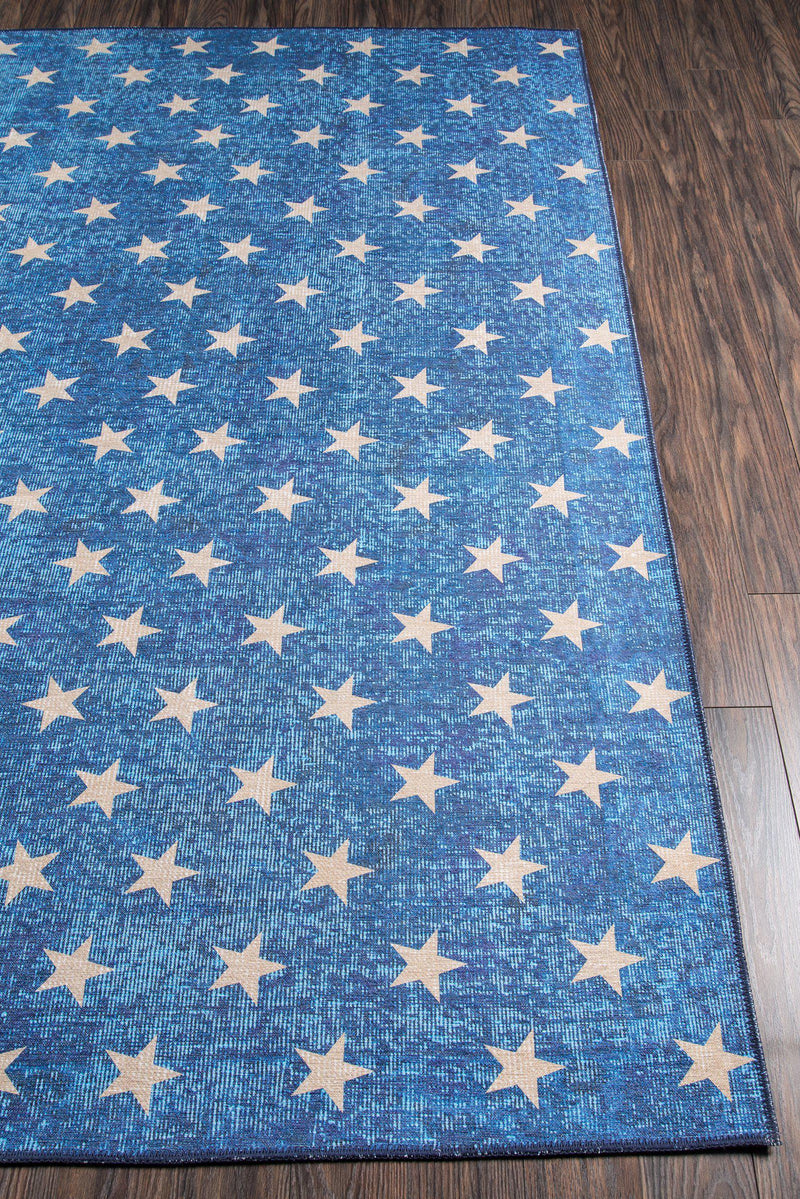 "Novogratz by Momeni District DIS-7 Stars Blue Area Rug-Area Rug-Momeni-3'3"" X 5'-The Rug Truck"