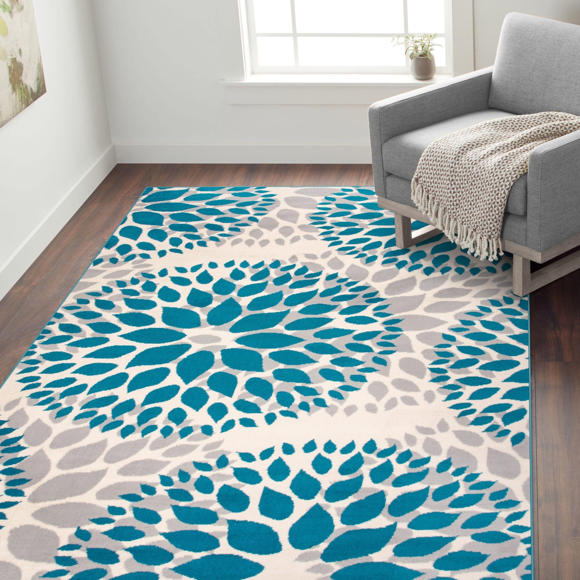 Newport 9099 Blue Area Rug 5 X 7