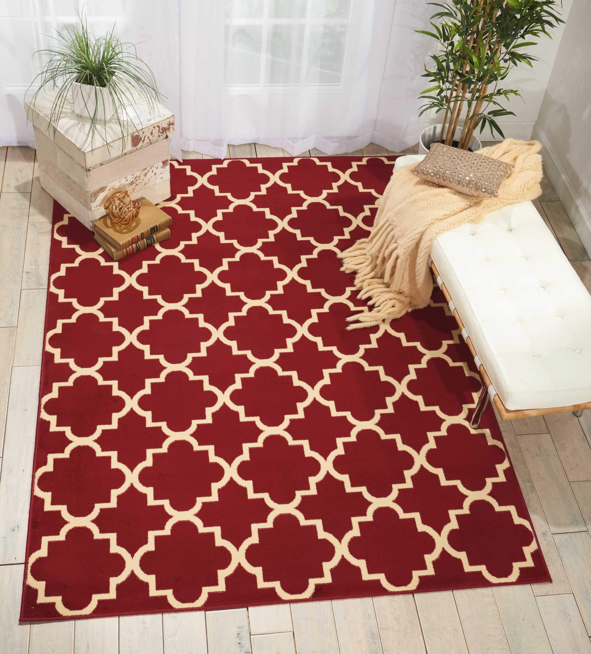 "Grafix GRF08 Red Area Rug-Area Rug-Nourison-5'3"" x 7'3""-The Rug Truck"