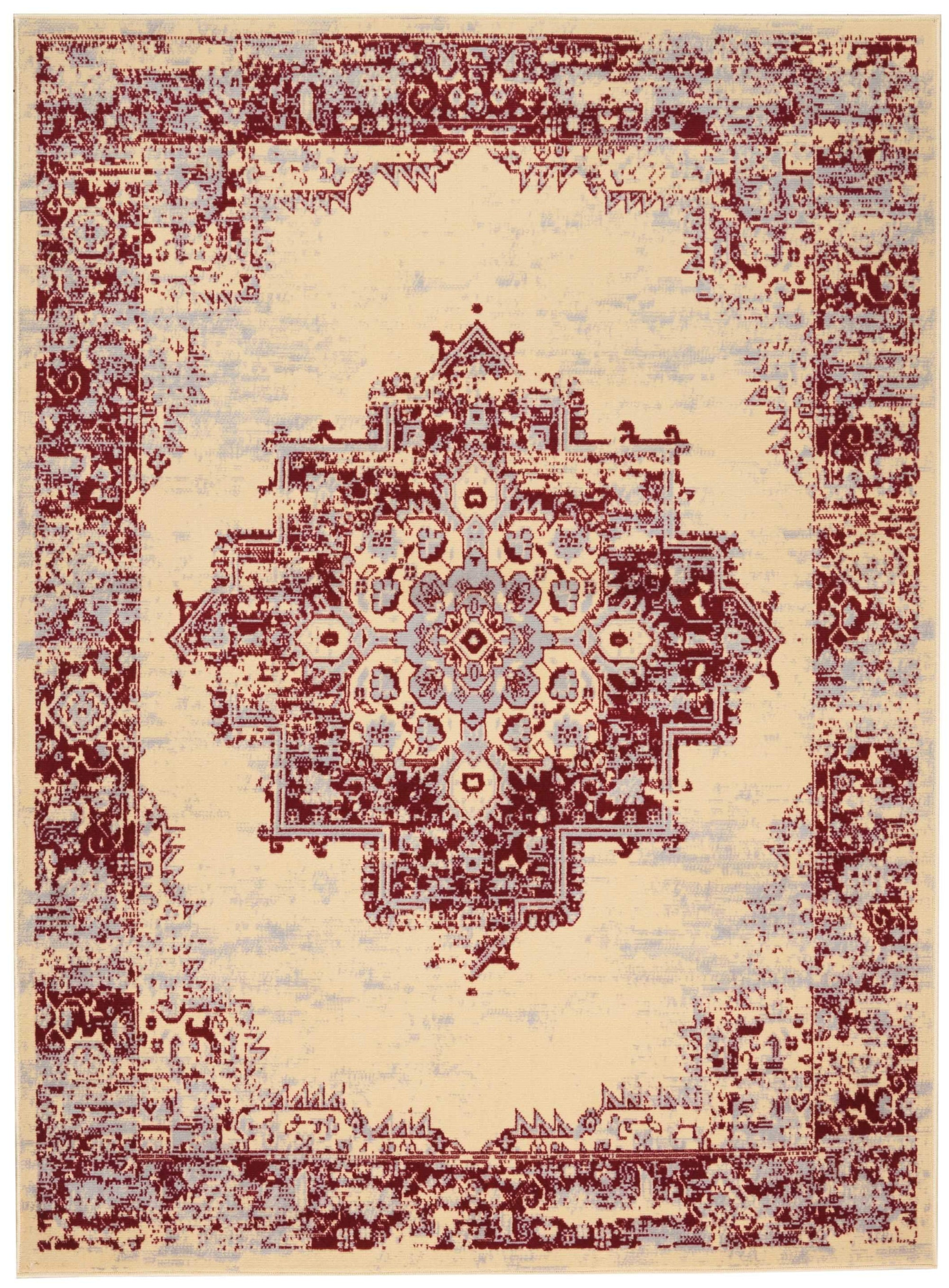 "Grafix GRF14 Cream Red Area Rug-Area Rug-Nourison-5'3"" x 7'3""-The Rug Truck"