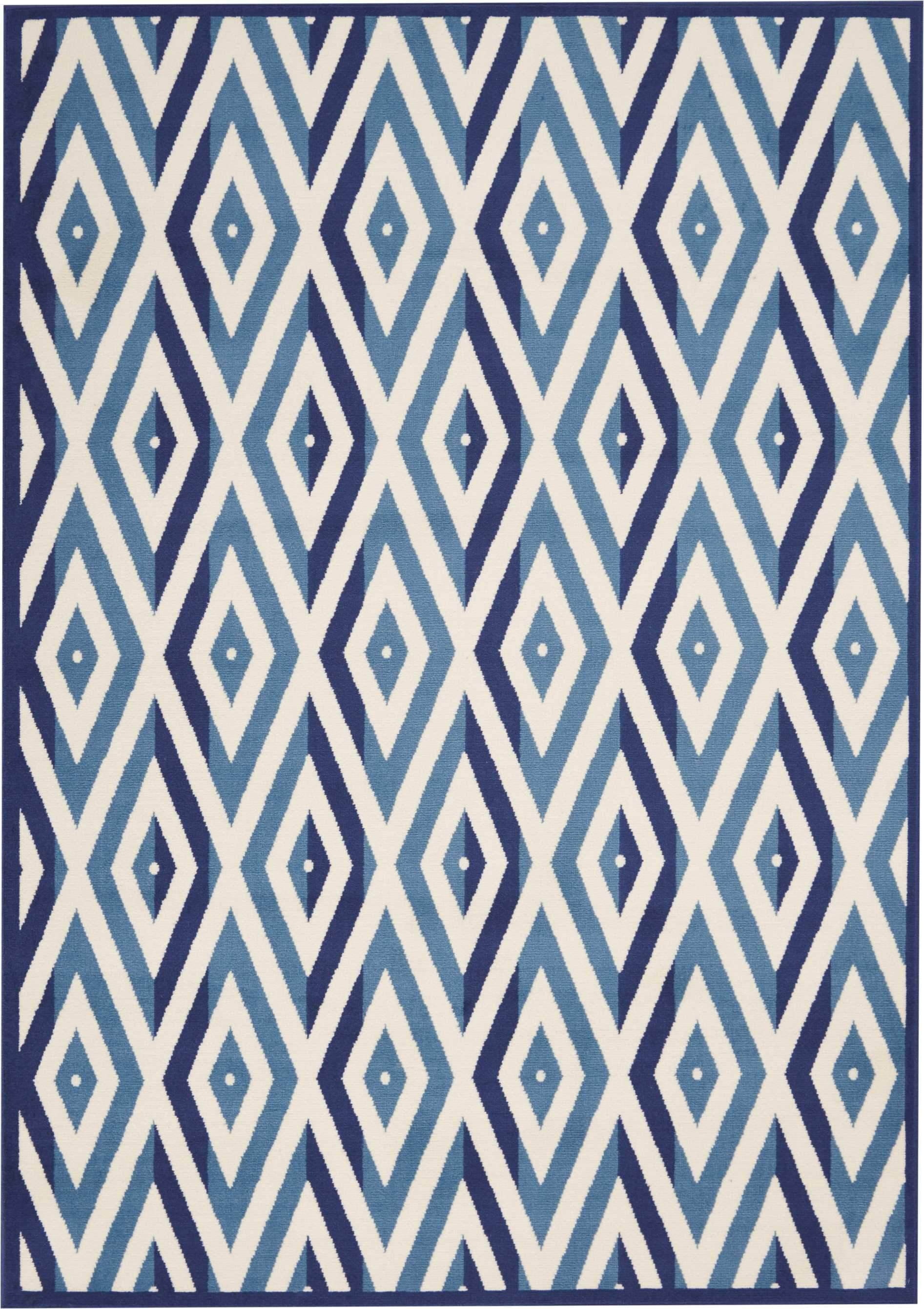 "Grafix GRF18 White Blue Area Rug-Area Rug-Nourison-5'3"" x 7'3""-The Rug Truck"