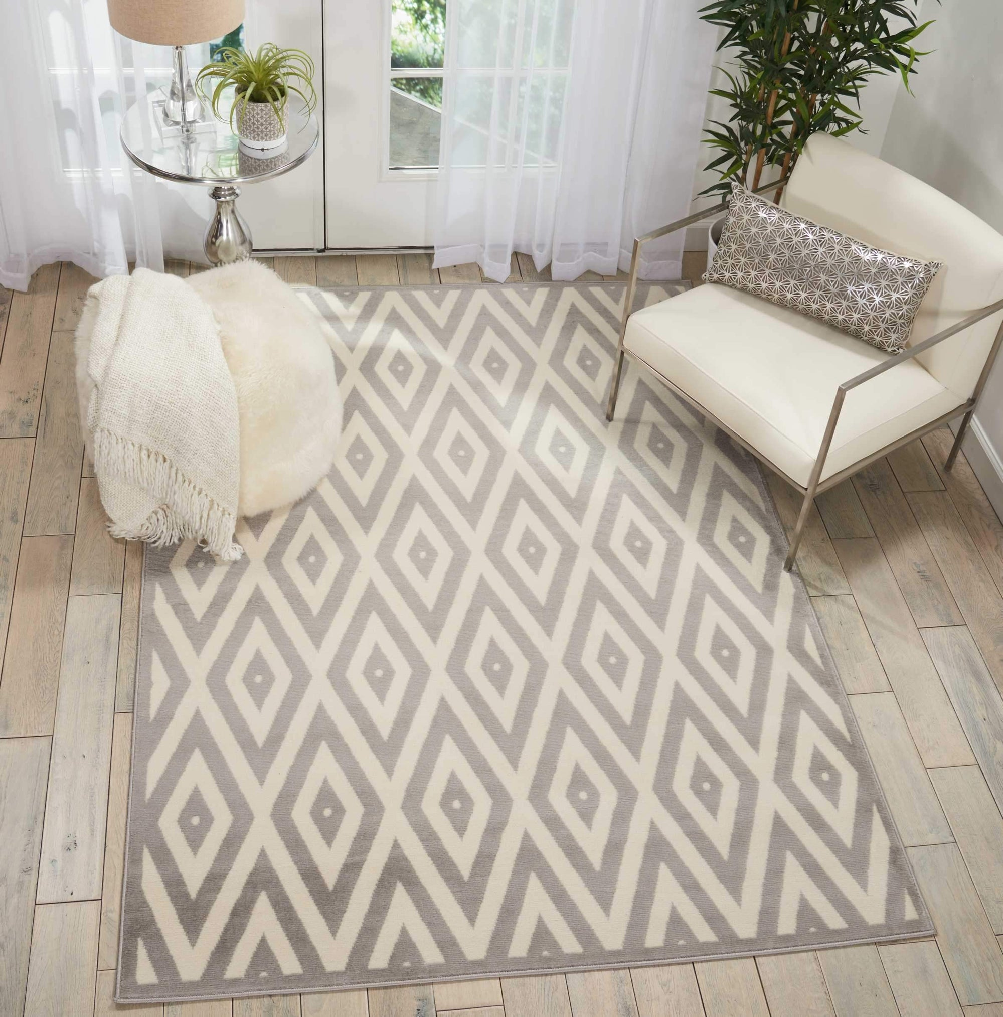"Grafix GRF18 White/Grey Area Rug-Area Rug-Nourison-5'3"" x 7'3""-The Rug Truck"