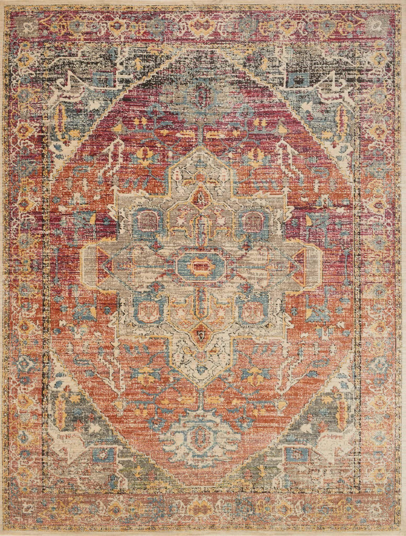 "Javari JV-08 Berry / Sunrise-Area Rug-Loloi-2'-6"" x 4'-0""-The Rug Truck"