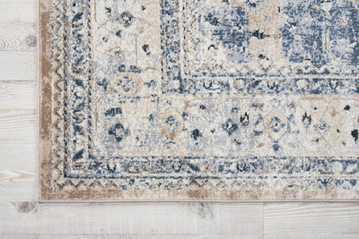 kathy ireland HOME Malta Beige Blue Area Rug-Area Rug-kathy ireland HOME-The Rug Truck