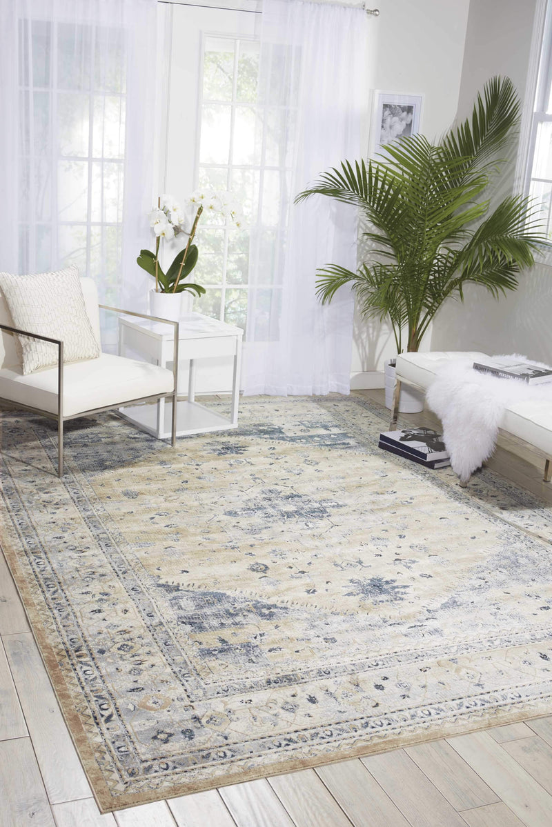 "kathy ireland HOME Malta Beige Blue Area Rug-Area Rug-kathy ireland HOME-3'11"" x 5'7""-The Rug Truck"