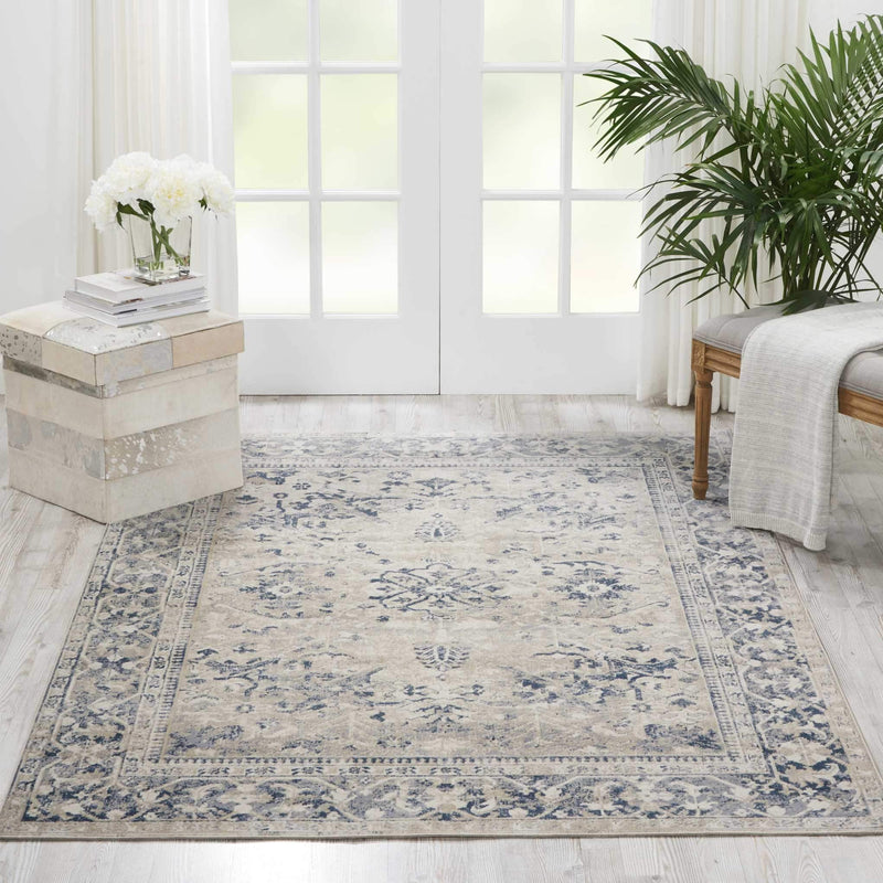 "kathy ireland HOME Malta Ivory Blue Area Rug-Area Rug-kathy ireland HOME-3'11"" x 5'7""-The Rug Truck"