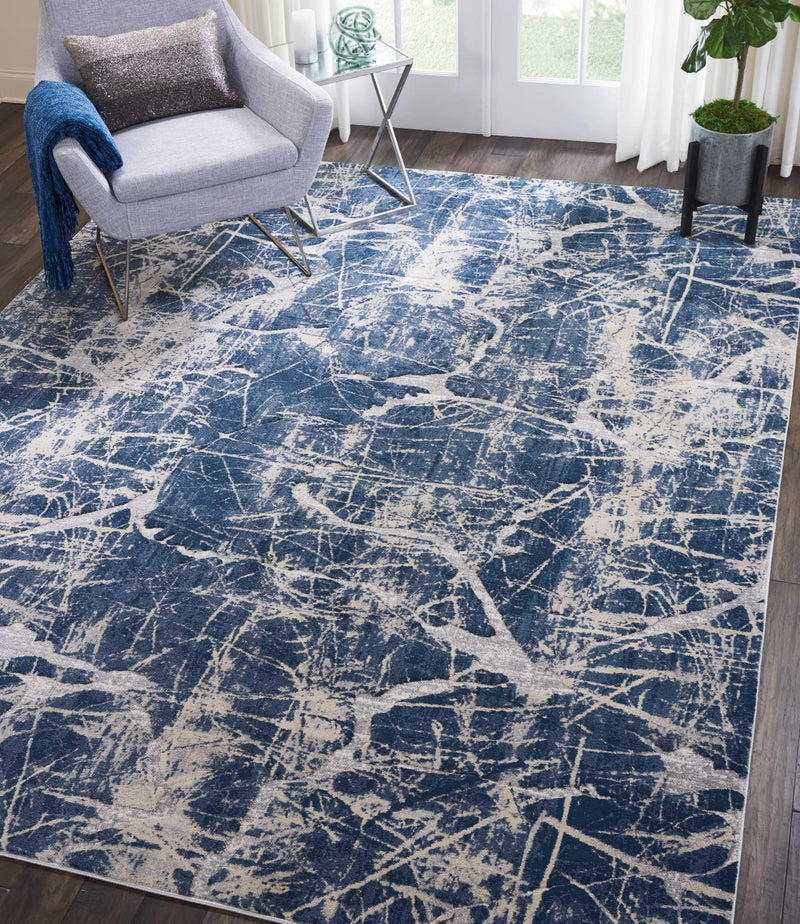 "kathy ireland HOME Heritage Beige/Blue Area Rug-Area Rug-kathy ireland HOME-3'11"" x 5'11""-The Rug Truck"