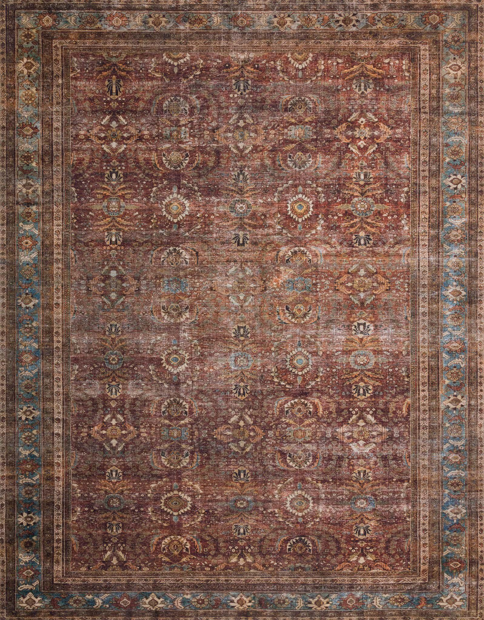 "Layla LAY-01 Brick / Blue Area Rug-Area Rug-Loloi-2'-0"" x 5'-0""-The Rug Truck"