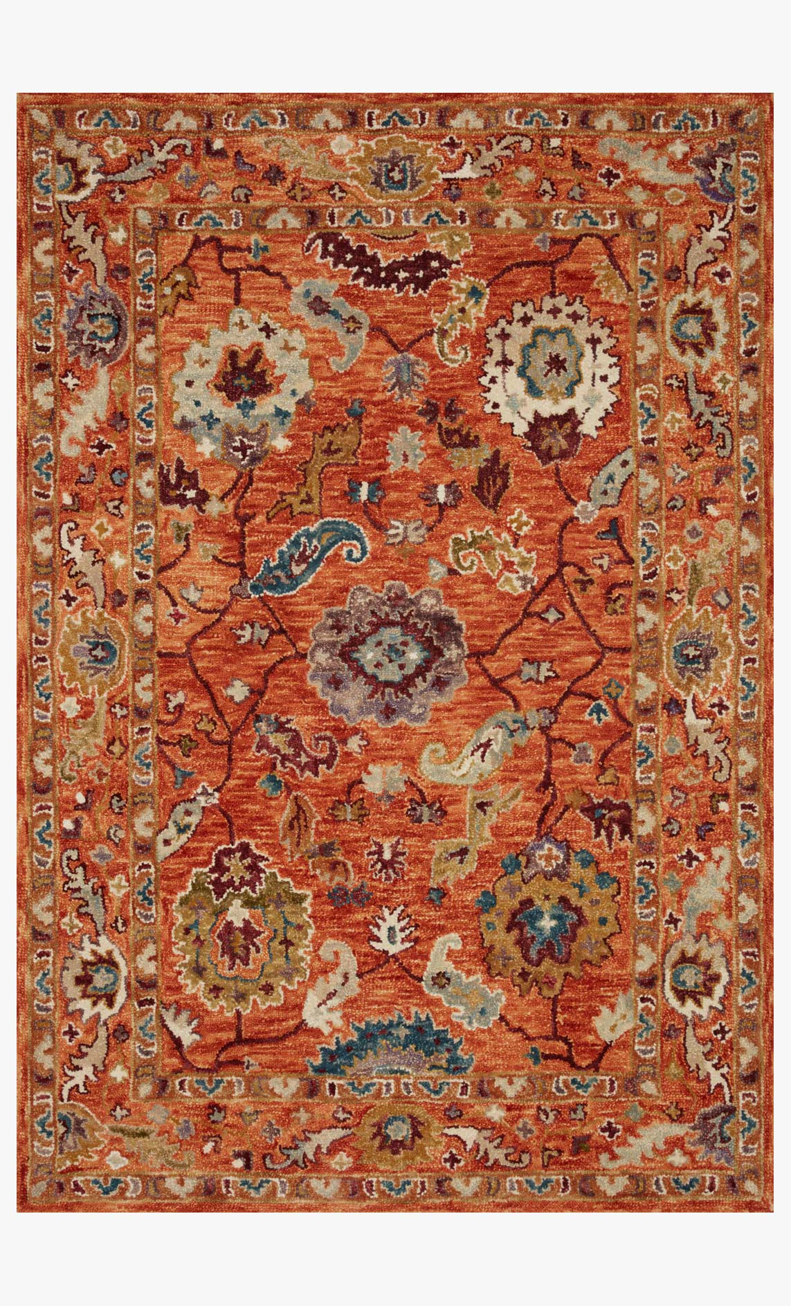"Loloi PADMA PMA-01 ORANGE / MULTI Area Rug (8'-6"" x 12')"