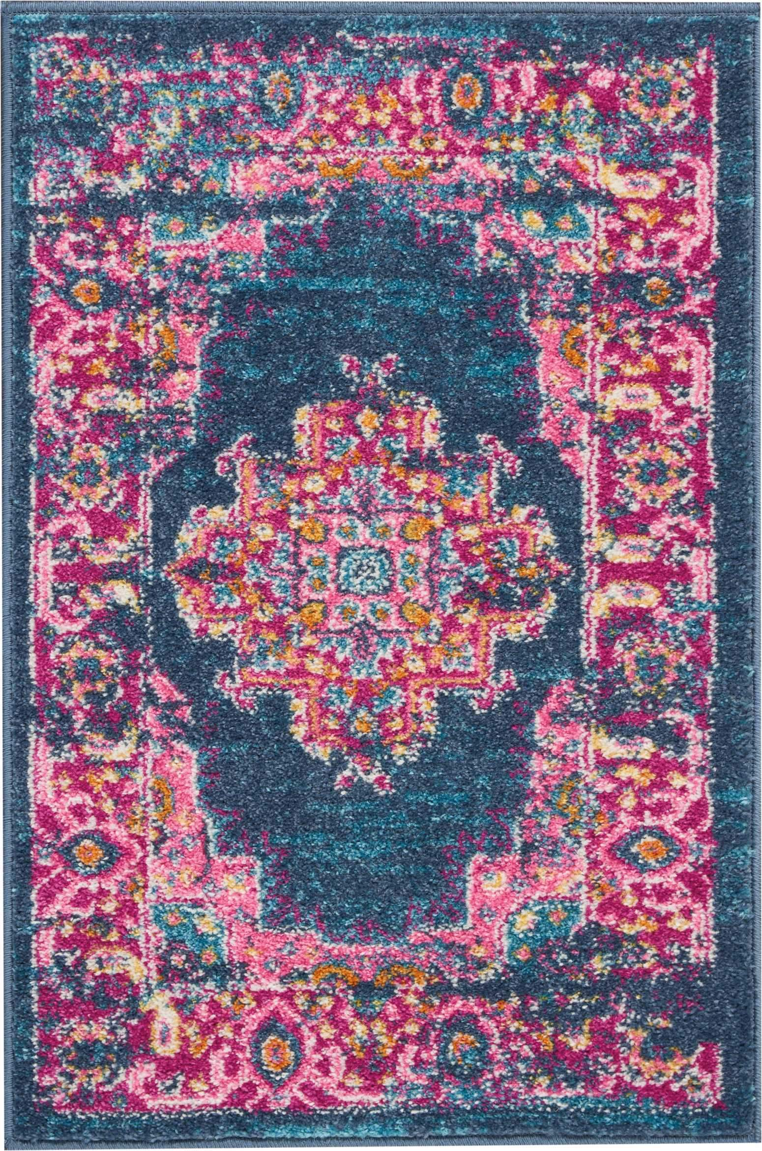 "Passion PSN03 Blue Area Rug-Area Rug-Nourison-1'10"" x 2'10""-The Rug Truck"
