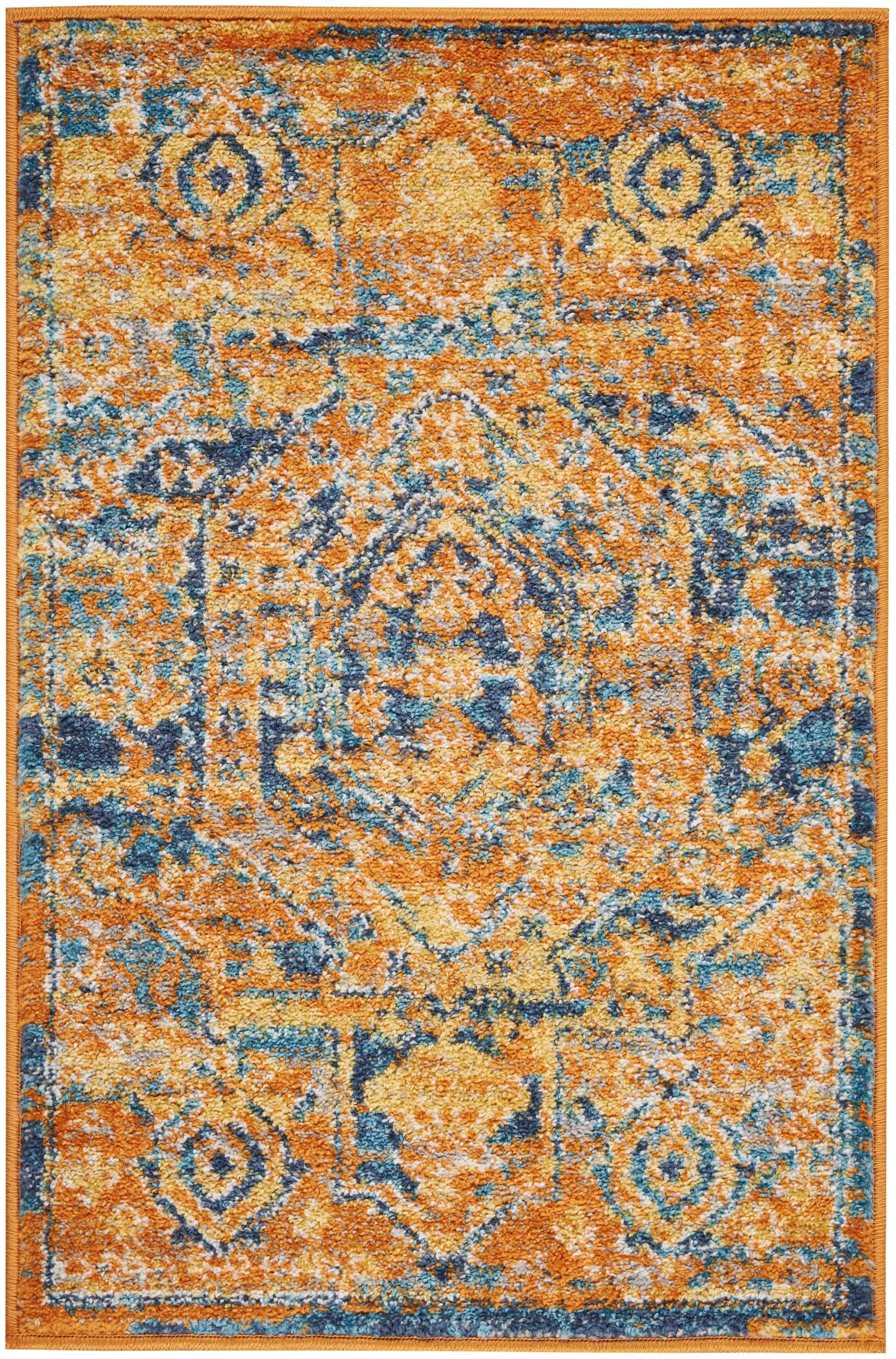 "Passion PSN07 Teal/Sun Area Rug-Area Rug-Nourison-1'10"" x 2'10""-The Rug Truck"