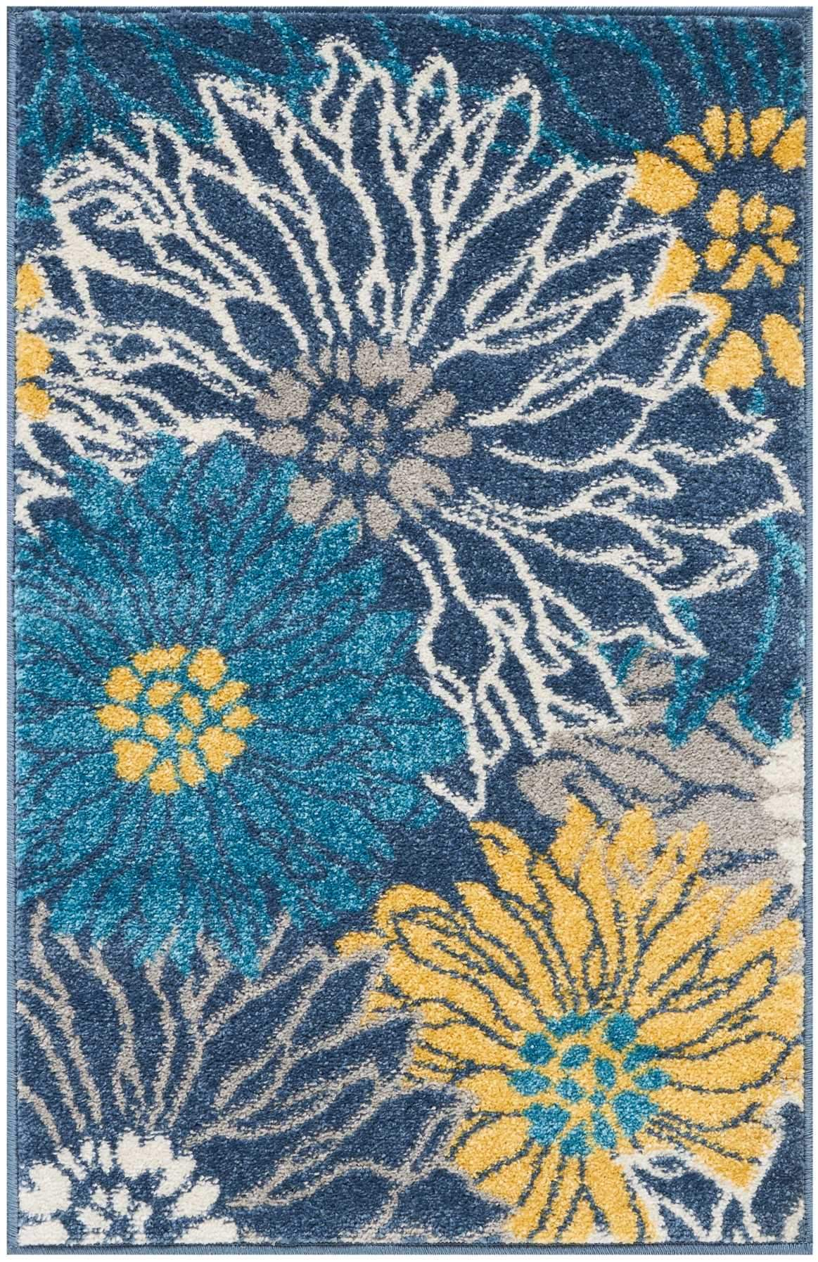 "Passion PSN17 Blue Area Rug-Area Rug-Nourison-1'10"" x 2'10""-The Rug Truck"