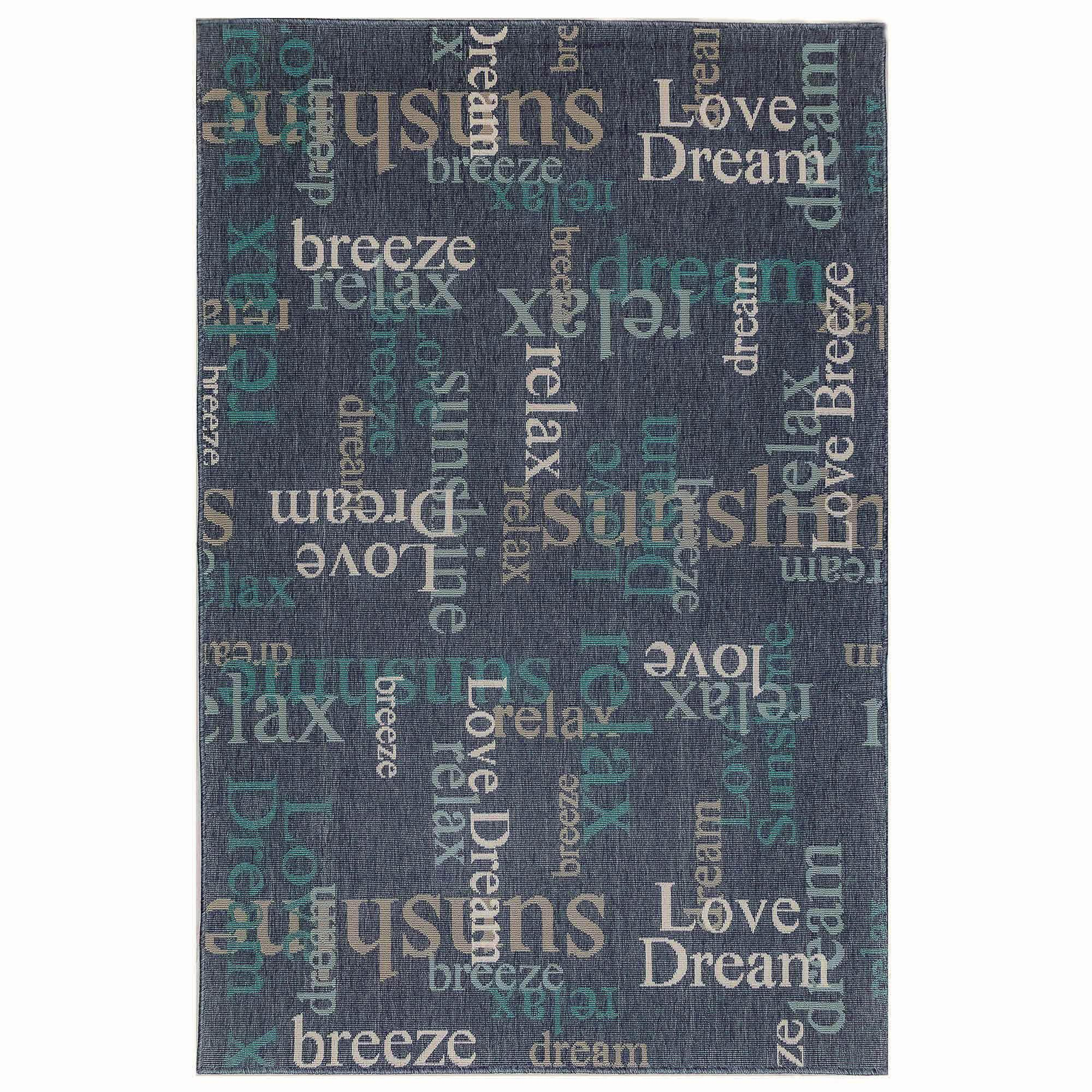 "Liora Manne Riviera Happy Words Navy Everywear Rug-Area Rug-Trans-Ocean-39""X59""-The Rug Truck"