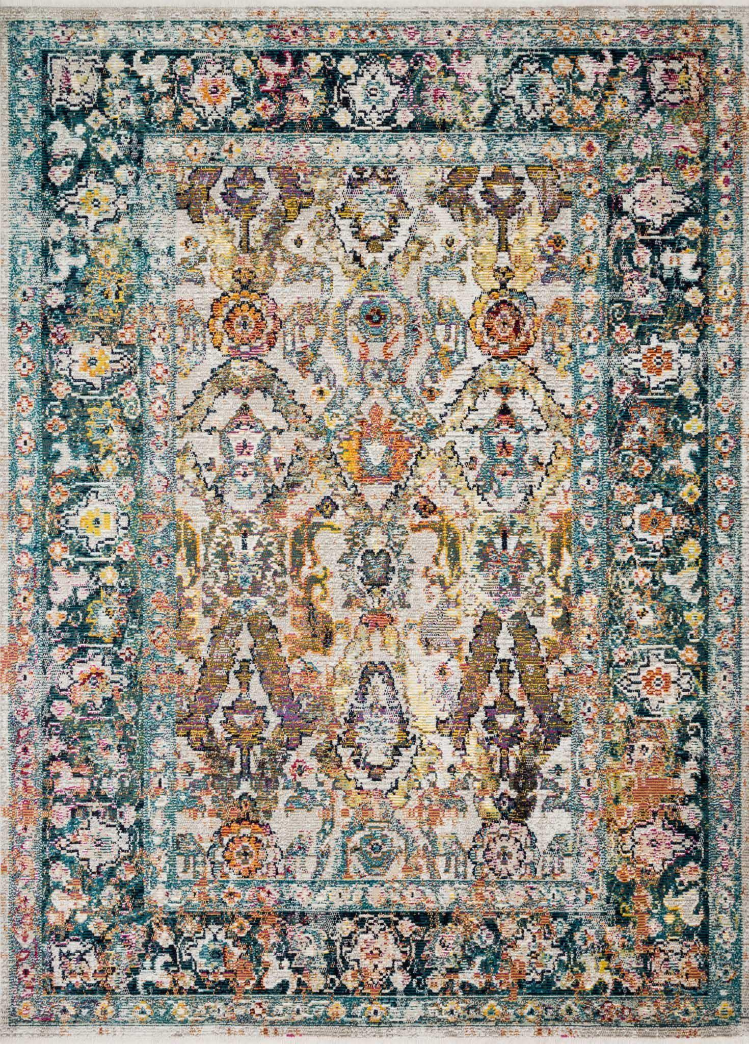 "Justina Blakeney Collection Silvia SIL-01 Stone / Teal-Area Rug-Loloi-2'-6"" x 4'-0""-The Rug Truck"