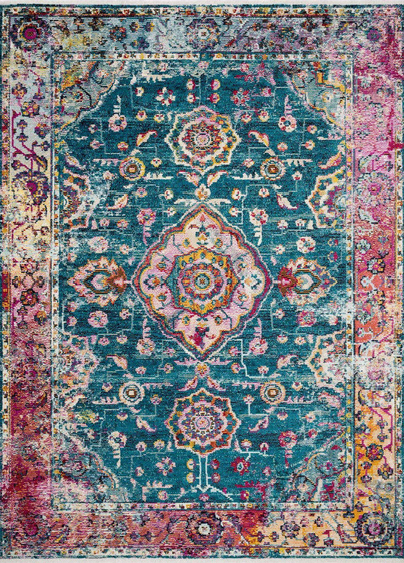 "Justina Blakeney Collection Silvia SIL-02 Teal / Berry-Area Rug-Loloi-2'-6"" x 4'-0""-The Rug Truck"