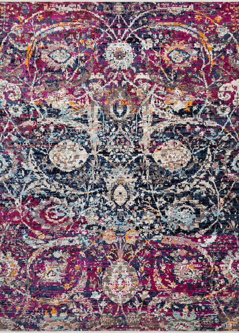 "Justina Blakeney Collection Silvia SIL-05 Midnight / Fuchsia-Area Rug-Loloi-2'-6"" x 4'-0""-The Rug Truck"