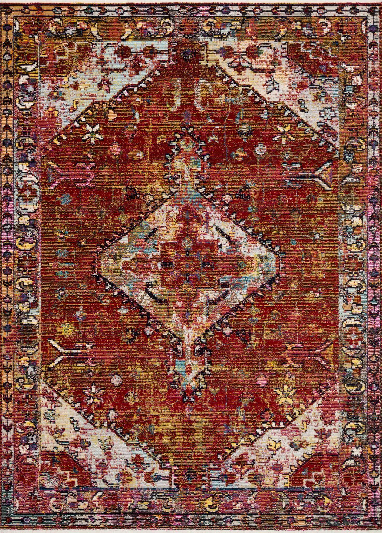 "Justina Blakeney Collection Silvia SIL-06 Red / Multi-Area Rug-Loloi-2'-6"" x 4'-0""-The Rug Truck"