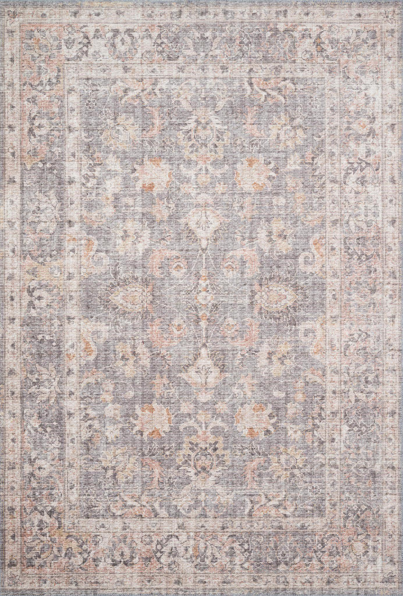 "Skye SKY-01 Grey / Apricot Area Rug-Area Rug-Loloi-1'-6"" x 1'-6"" Square-The Rug Truck"