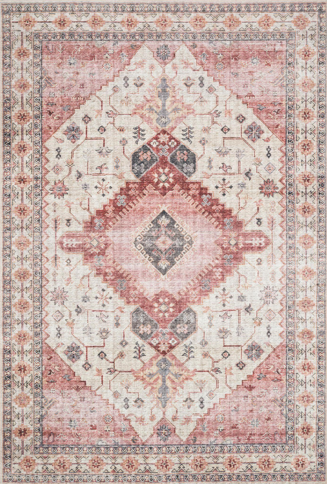 "Skye SKY-02 Ivory / Berry Area Rug-Area Rug-Loloi-1'-6"" x 1'-6"" Square-The Rug Truck"