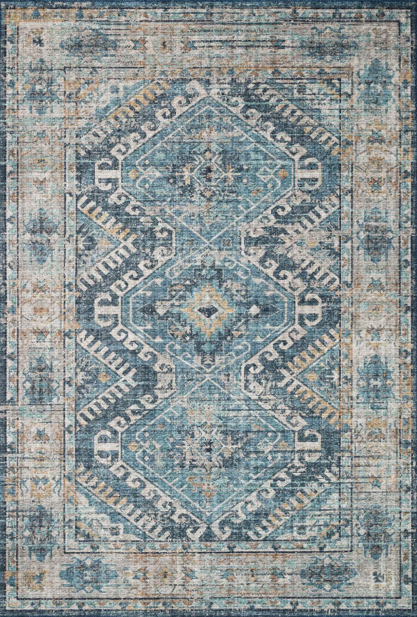 "Skye SKY-03 Denim / Natural Area Rug-Area Rug-Loloi-1'-6"" x 1'-6"" Square-The Rug Truck"
