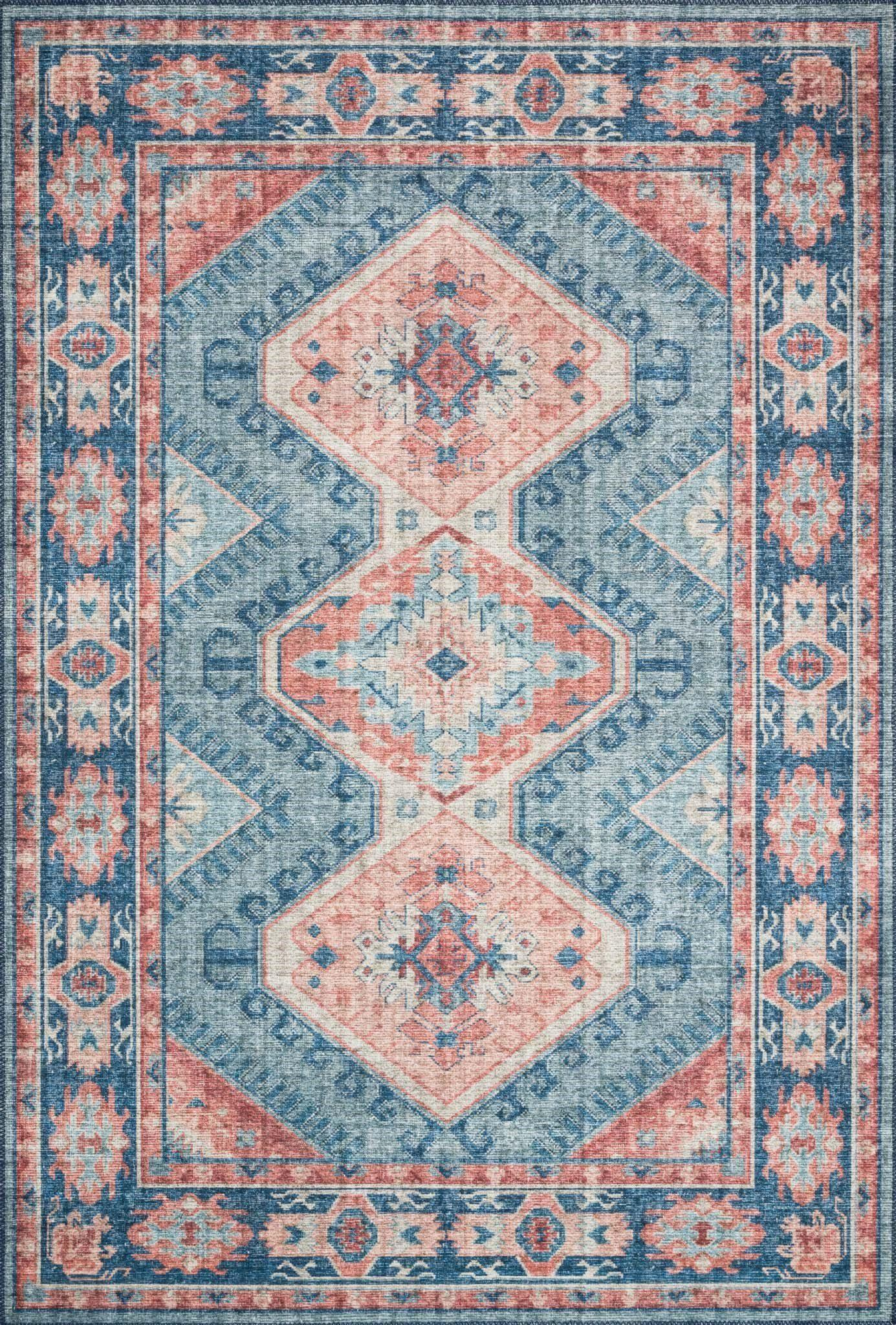 "Skye SKY-03 Turquoise / Terracotta Area Rug-Area Rug-Loloi-1'-6"" x 1'-6"" Square-The Rug Truck"