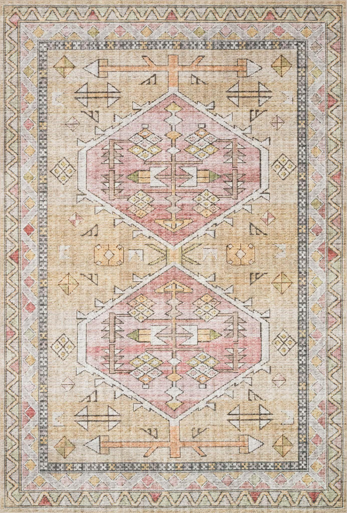 "Skye SKY-04 Gold / Blush Area Rug-Area Rug-Loloi-1'-6"" x 1'-6"" Square-The Rug Truck"