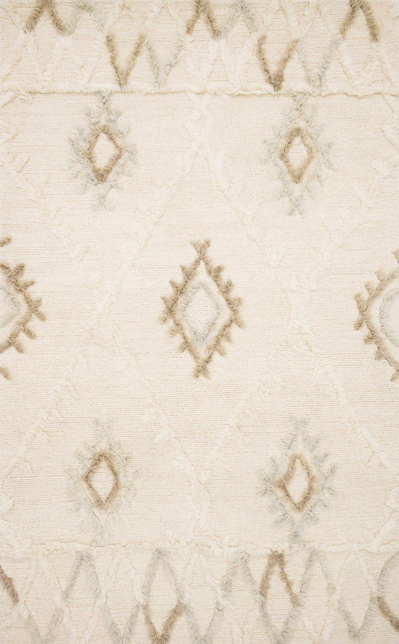 "Symbology-Loloi X Justina Blakeney Collection SYM-01 Ivory / Slate Area Rug-Area Rug-Loloi-2'-6"" X 7'-6""-The Rug Truck"