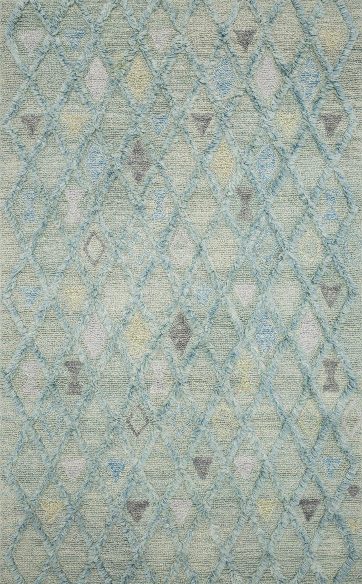 "Symbology-Loloi X Justina Blakeney Collection SYM-02 Seafoam / Sky Area Rug-Area Rug-Loloi-2'-6"" X 7'-6""-The Rug Truck"