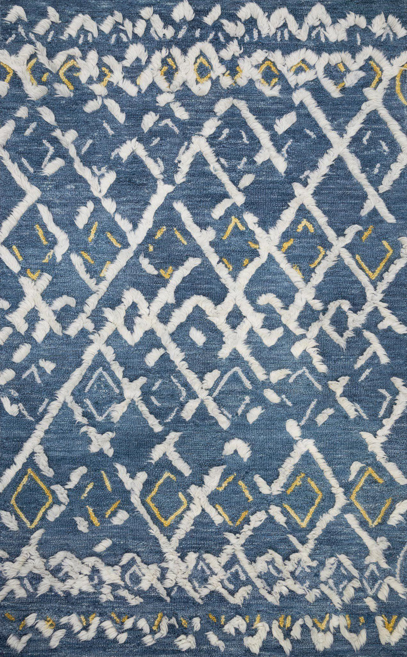 "Symbology-Loloi X Justina Blakeney Collection SYM-04 Denim / Dove Area Rug-Area Rug-Loloi-2'-6"" X 7'-6""-The Rug Truck"
