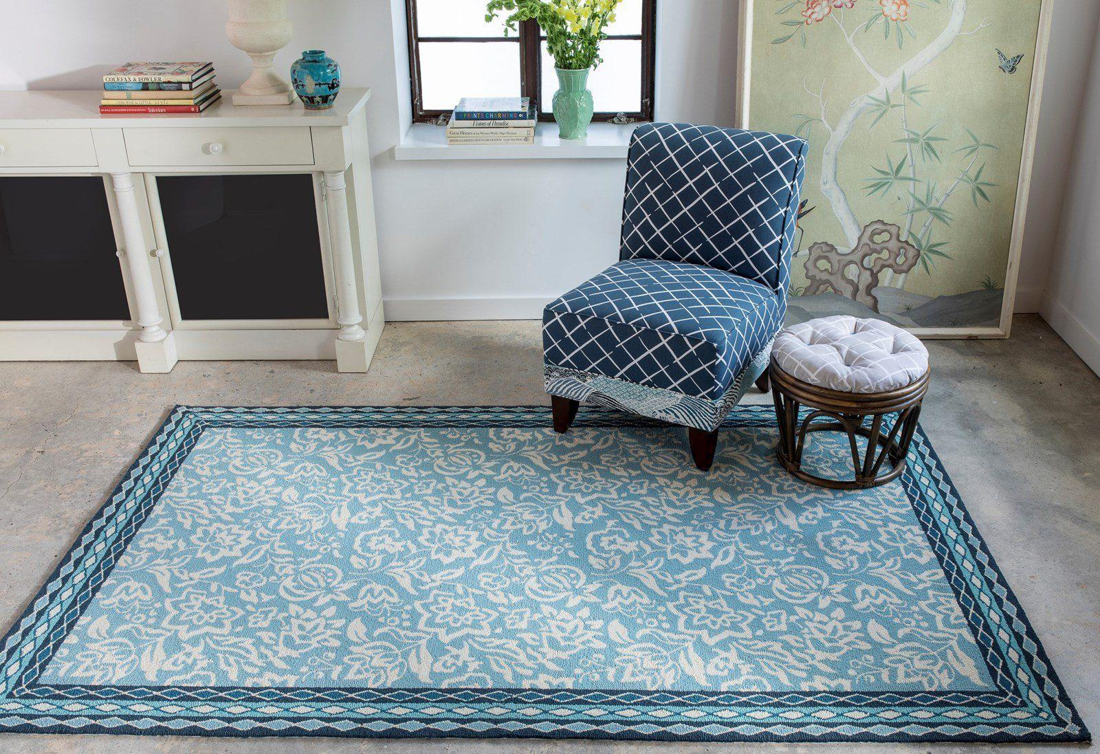 Madcap Cottage by Momeni Under A Loggia Rokeby Road Blue Indoor/Outdoor Area Rug-Area Rug-Momeni-The Rug Truck