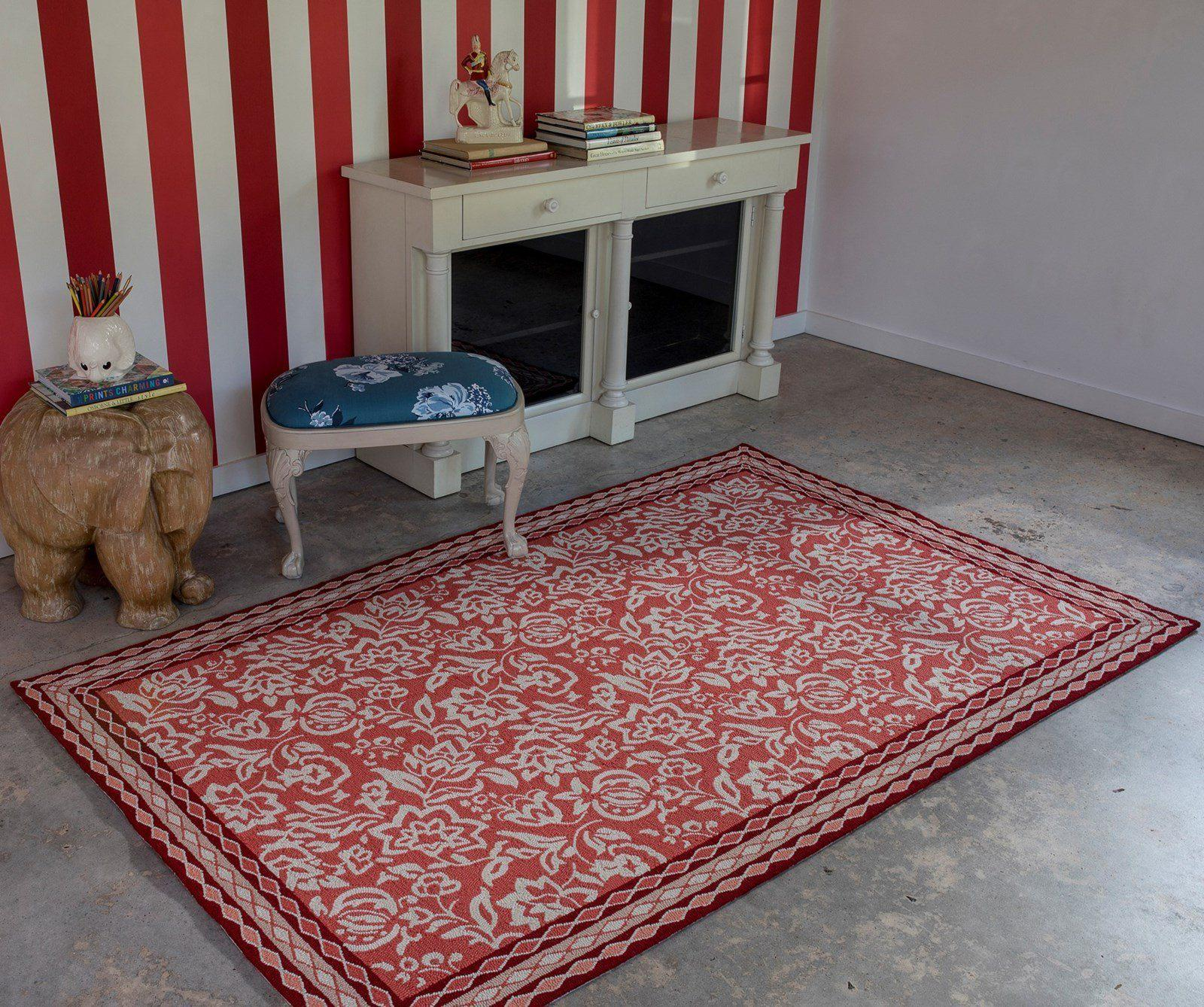 Madcap Cottage by Momeni Under A Loggia Rokeby Road Red Indoor/Outdoor Area Rug-Area Rug-Momeni-The Rug Truck