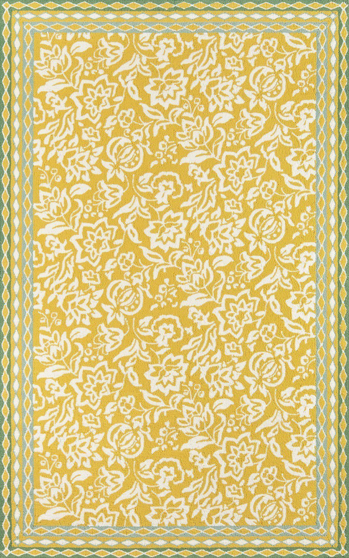 Madcap Cottage by Momeni Under A Loggia Rokeby Road Yellow Indoor/Outdoor Area Rug-Area Rug-Momeni-The Rug Truck