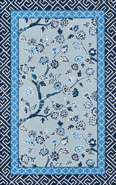 Madcap Cottage by Momeni Under A Loggia Blossom Dearie Blue Indoor/Outdoor Area Rug-Area Rug-Momeni-2' X 3'-The Rug Truck